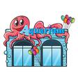 Aquarium and octopus vector image
