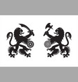 armed heraldic lions vector image vector image