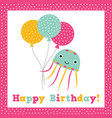 birthday greeting card with a cute octopus vector image vector image