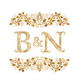 bn vintage initials logo symbol letters b vector image