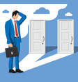 businessman standing in front two closed doors vector image