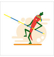 carrot athlete a smiling carrot makes a pole vector image vector image