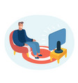 cartoon funny man sitting vector image vector image