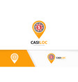 casino and map pointer logo combination vector image vector image