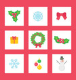 christmas wreath with mistletoe ribbon and gift vector image vector image