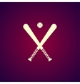crossed baseball bats and ball set vector image