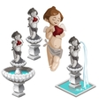 cupid with heart and same fountains vector image vector image