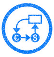 currency flow chart rounded icon rubber stamp vector image