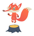 cute cartoon fox character standing on stump vector image vector image