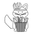 cute fox with feathers hat and straw basket vector image