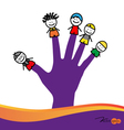 Cute happy cartoon kids on fingers vector image