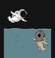 diver and astronaut vector image vector image