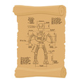 Drawing Robot Ancient scroll Retro scheme of vector image vector image