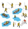 fishing situations isometric set vector image