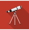 Flat telescope with long shadow icon vector image vector image