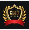 Golden Shield With Laurel Wreath And Red Ribbon vector image vector image