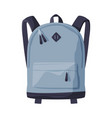 gray backpack for schoolchildren or students vector image vector image
