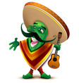 green mexican cactus in sombrero and poncho sings vector image