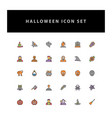 halloween icon set with filled outline style vector image