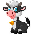 happy baby cow sitting on white background vector image vector image