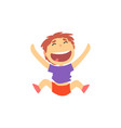happy schoolboy jumping kids physical activity vector image vector image