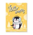 hello winter bright postcard vector image vector image