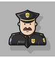 icon police in black uniforms with police badge vector image vector image