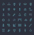 lamp flat icon set vector image