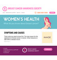 layout for website about breast cancer vector image vector image