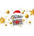 merry christmas with gift box santa vector image