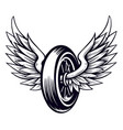 motorcycle wheel with wings vector image vector image