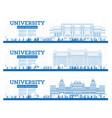 outline university campus set study banners vector image vector image