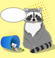 raccoon eats from the trash a garbage can of vector image vector image