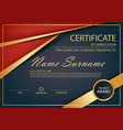 red gold elegance horizontal certificate vector image vector image