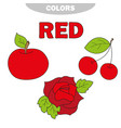 red learn the color education set vector image