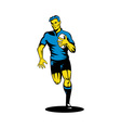 rugby player running the ball vector image vector image