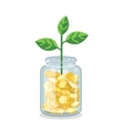Saving flat money jar with growing plant vector image vector image