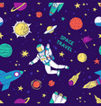 Seamless doodle space pattern trendy cute kids