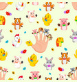 seamless pattern with hand wearing cute finger vector image