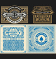 set 4 vintage card with western style layered vector image vector image