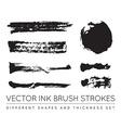 Set of Black Pen Ink Brush Strokes Grunge Ink vector image vector image
