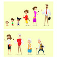 set of characters in cartoon style men and women vector image