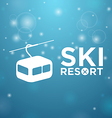 Ski resort ropeway on blue background vector image vector image