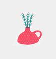 still life vase plant postcard vector image