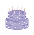 sweet cake with candles isolated icon vector image vector image