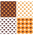 Tile orange white and brown hearts pattern set vector image vector image