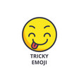 tricky emoji line icon sign vector image