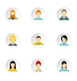 Types of avatar icons set flat style vector image vector image