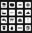 water icons set squares vector image vector image