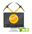 bitcoin mining icon cartoon style vector image